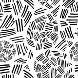 Abstract Monochrome Seamless Pattern with Curved Lines and Strokes on a White Background Royalty Free Stock Image