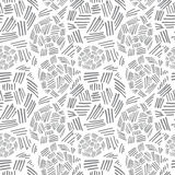 Abstract Monochrome Seamless Pattern with Curved Lines and Strokes on a White Background Royalty Free Stock Images