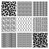 Abstract monochrome seamless pattern set. Hand drawn fashion  Royalty Free Stock Images