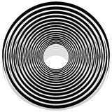 Abstract monochrome spiral, vortex with radial, radiating circle. S. Rotating circles. - Royalty free vector illustration Stock Photos