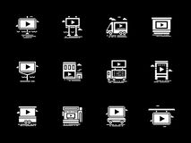 Video ads displays white glyph icons set Royalty Free Stock Photo