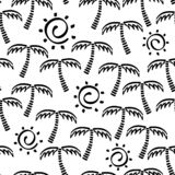Abstract monochrome vector seamless childish pattern. Fabric textile with exotic island. Cute doodle summer pattern with Royalty Free Stock Images