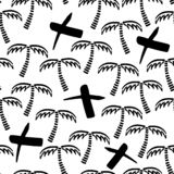 Abstract monochrome vector seamless childish pattern. Fabric textile with exotic island. Cute doodle summer pattern with Royalty Free Stock Photos