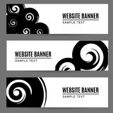 Abstract monochrome watercolor, ink painted banners with spirals Royalty Free Stock Image