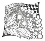 Abstract monochrome zentangle ornamen. Hand drawn Royalty Free Stock Photography