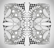 Abstract monochrome zentangle ornament. Hand drawn Royalty Free Stock Photography