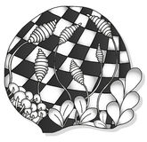 Abstract monochrome zentangle ornament. Hand drawn Stock Photo