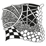 Abstract monochrome zentangle ornament. Abstract monochrome zentangle ornamen - hand drawn Royalty Free Stock Photo