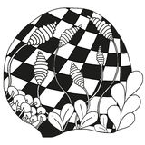 Abstract monochrome zentangle ornament. Abstract monochrome zentangle ornamen - hand drawn Royalty Free Stock Photography