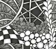 Abstract monochrome zentangle seamless pattern. Hand drawn Royalty Free Stock Images