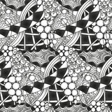 Abstract monochrome zentangle seamless pattern. Hand drawn Royalty Free Stock Photography