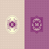 Abstract Monogram graceful template. Seamless pattern background. Calligraphic elegant logo design. Letter emblem sign R, M. Fashi Royalty Free Stock Photos
