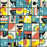 Abstract monsters pattern. Vector illustration in retro style Royalty Free Stock Image