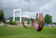 Abstract monument near the Elizabeth Bridge in Budapest, Hungary Stock Image