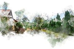 Abstract mooi boom en Gebied op kleurrijke waterverf het schilderen achtergrond stock illustratie