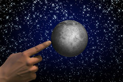 Abstract moon and hand Stock Images