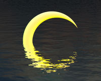 Moon over water night background royalty free stock photo