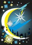 Abstract moonlight night in forest  - vector illustration Royalty Free Stock Photo