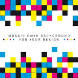Abstract mosaic background from CMYK colors on white background. With place for text - print concept. Vector illustration Royalty Free Stock Images