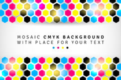 Abstract mosaic background from CMYK hexagons. With place for text - print concept. Vector illustration Royalty Free Illustration