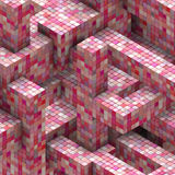 Abstract mosaic cube pink red backdrop Royalty Free Stock Photography