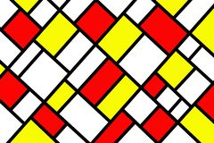 Abstract mosaic pattern grid with random colours. Red and yellow stock illustration