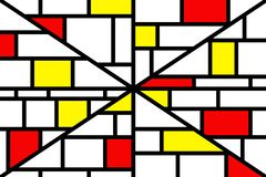 Abstract mosaic pattern grid with random colours. Red and yellow vector illustration
