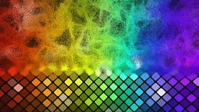 Abstract mosaic rainbow colored glowing squares stock footage
