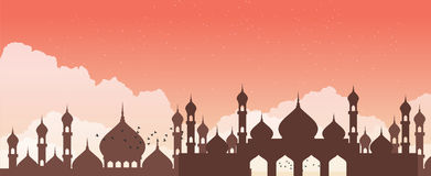 Abstract mosque against the sky with clouds. Vector royalty free illustration