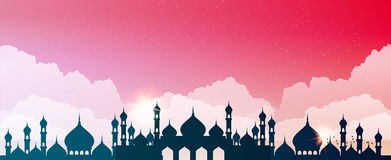 Abstract mosque against the sky with clouds. Vector vector illustration