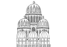 Abstract Mosque illustration. Sketchy hand drawn Doodle. Black a Stock Image