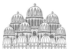 Abstract Mosque illustration. Sketchy hand drawn Doodle. Black a Royalty Free Stock Photo