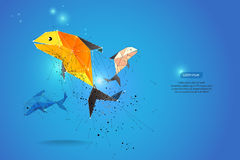 Abstract motion background. dot line design. fish and zodiac con Royalty Free Stock Image