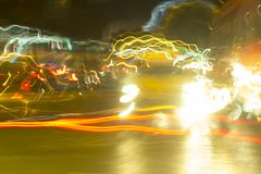 Abstract Motion Blur car lights On the road or streets, shoot from inside a moving car.  royalty free stock image