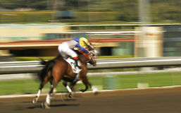 Abstract Motion Blur Horse Race. Motion blur of two jockeys racing horses down a track stock image