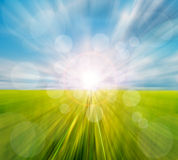 Abstract motion blurred meadow and sky Royalty Free Stock Photo