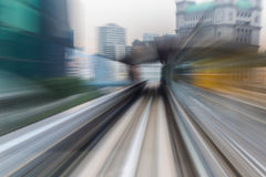 Abstract motion blurred moving train inside tunnel Stock Photo