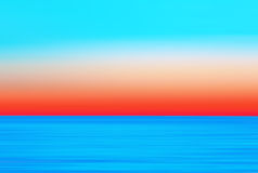 Abstract Motion Blurred Vivid Colored Sea Background. Abstract motion blurred background - orange, turquoise and blue seascape at sunset royalty free illustration