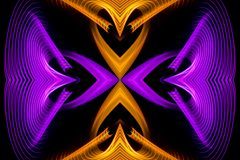 Abstract motion graphics. Abstract circle of thin orange and purple lines intersecting with a cross in the middle on a white background stock photography