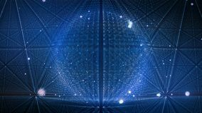 Abstract motion sphere of glowing particles. Animation points array or digital energy ball. 3d rendering stock footage