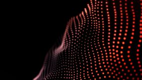 Abstract motion, waving dots texture with glowing defocused particles in rows, seamless loop. Animation. Cyber or stock image