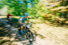 Abstract motions blur background - mountain Bike cyclist riding Stock Photo