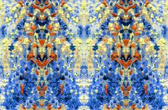 Abstract motley and colorful pattern. Oil painting on canvas. Abstract motley and colorful pattern. Fabulous flowers and plants. Embossed texture of oil paint stock illustration