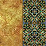 Abstract motley patterned and golden backgraund Royalty Free Stock Images