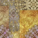 Abstract motley patterned and golden backgraund. Golden lace abstract motley patterned and golden backgraund stock illustration