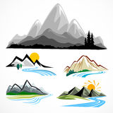 Abstract mountain and hills symbol set stock illustration