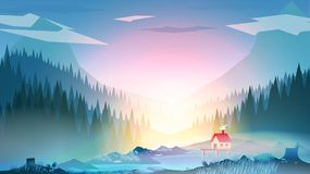 Abstract Mountain Lake with House and Forest - Vector Illustration royalty free illustration