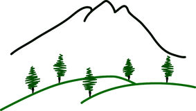 Abstract mountain landscape. On a white background Royalty Free Illustration