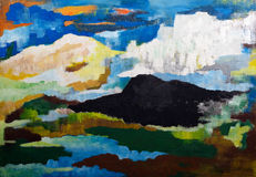 Abstract mountain landscape. Original painting oil on wood Royalty Free Stock Photography