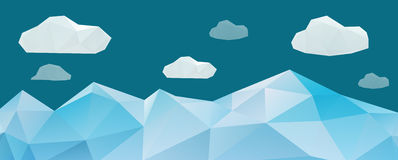 Abstract mountain landscape in polygonal origami style Royalty Free Stock Photo